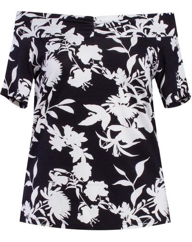 blusa ombro a ombro estampa floral seiki 730178