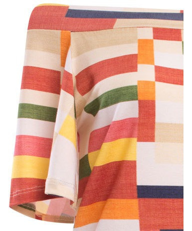 blusa ombro a ombro estampada geométrica  em viscose seiki f