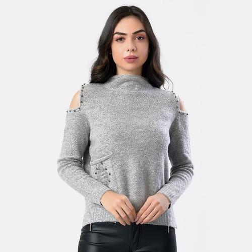 blusa ombro de fora gola alta feminina miss yes