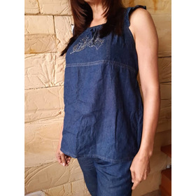 Blusa Pantalón Para Embarazadas En Jeans Chambray