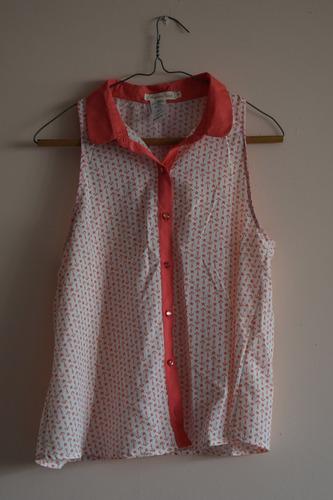 blusa para dama blanco y salmón tipo marinero / talla m