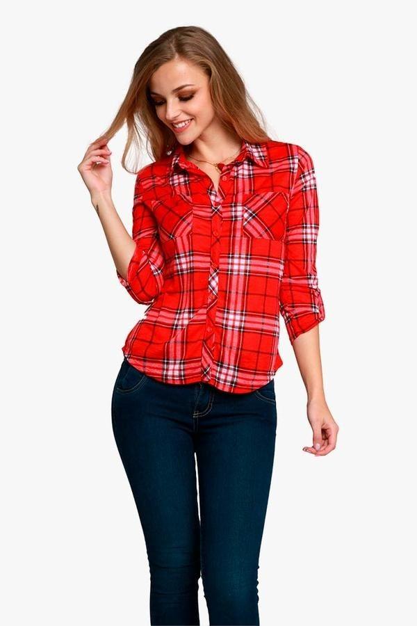 af12f0919 Blusa Para Dama Con Cuadros En Rojo -   149.00 en Mercado Libre