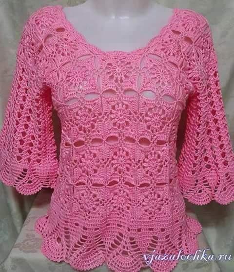 Blusa Para Dama Tejida A Crochet Color Rosa 40000 En Mercado Libre