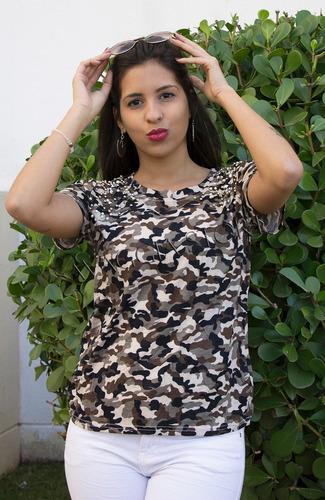 blusa pedraria roupas feminina camuflada militar manga curta