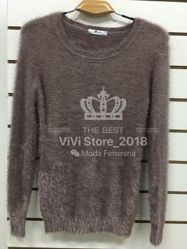 blusa pelinho de frio pelúcia feminina outono inverno kit2