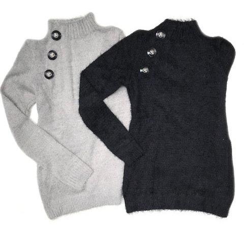 blusa pelinho frio manga comprida tecido mousse cinza