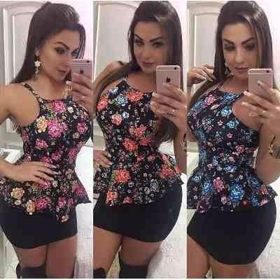 7d5203f2c893f Blusa Peplum Feminina Regata Com Bojo Alcinha Diva - R  38