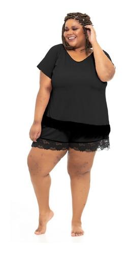 blusa pijama plus size wonder size renda preta