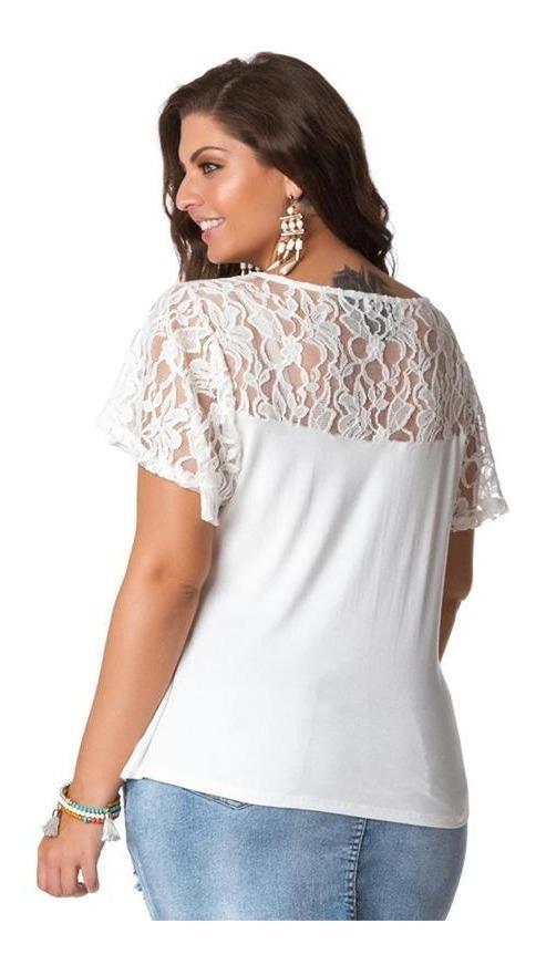 5aa37d184461 blusa plus size branca manga em renda gola strappy. Carregando zoom.
