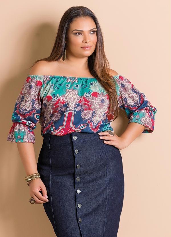 031a85747 blusa plus size ciganinha ombro a ombro estampada colorida. Carregando zoom.