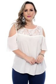 74d4da509 Blusa Plus Size Decote Rendado E Manga Sino Off White