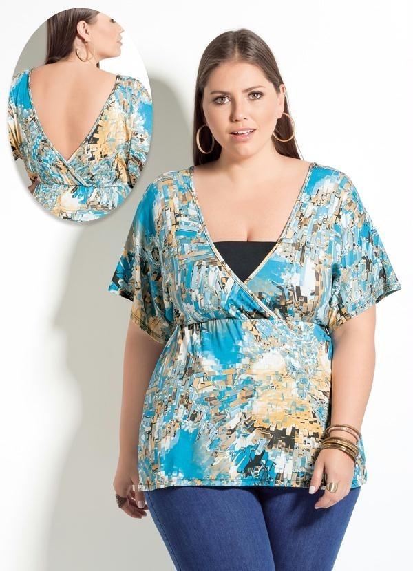 60b6ba821f blusa plus size gordinha manga curta decotada estampada. Carregando zoom.