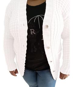 6ba2f2530db273 Blusa De Frio Plus Size Lã Cardigan Casaco Feminina Botões
