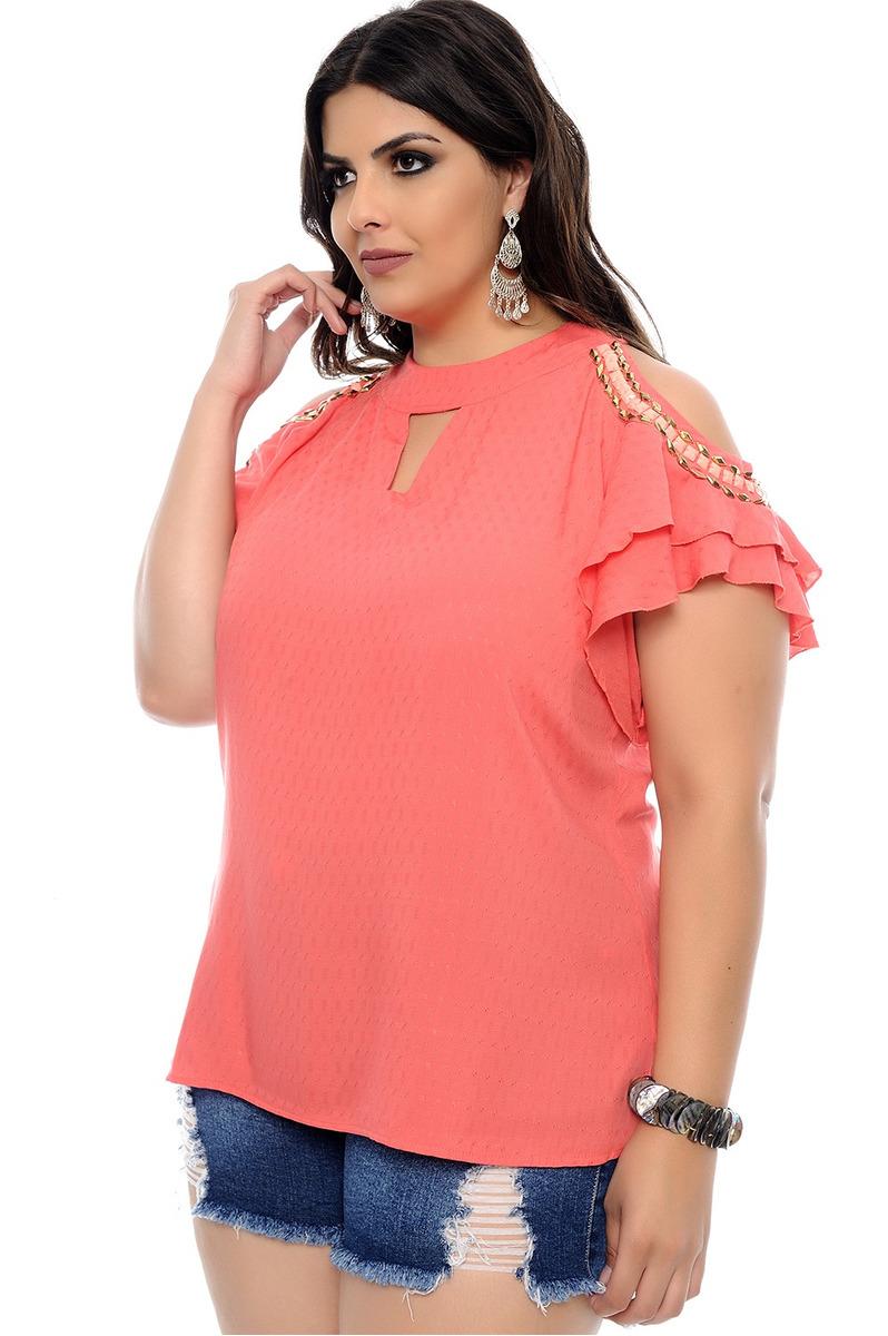 81468b7eb Blusa Plus Size Monalisa Cereja - R$ 227,27 em Mercado Livre