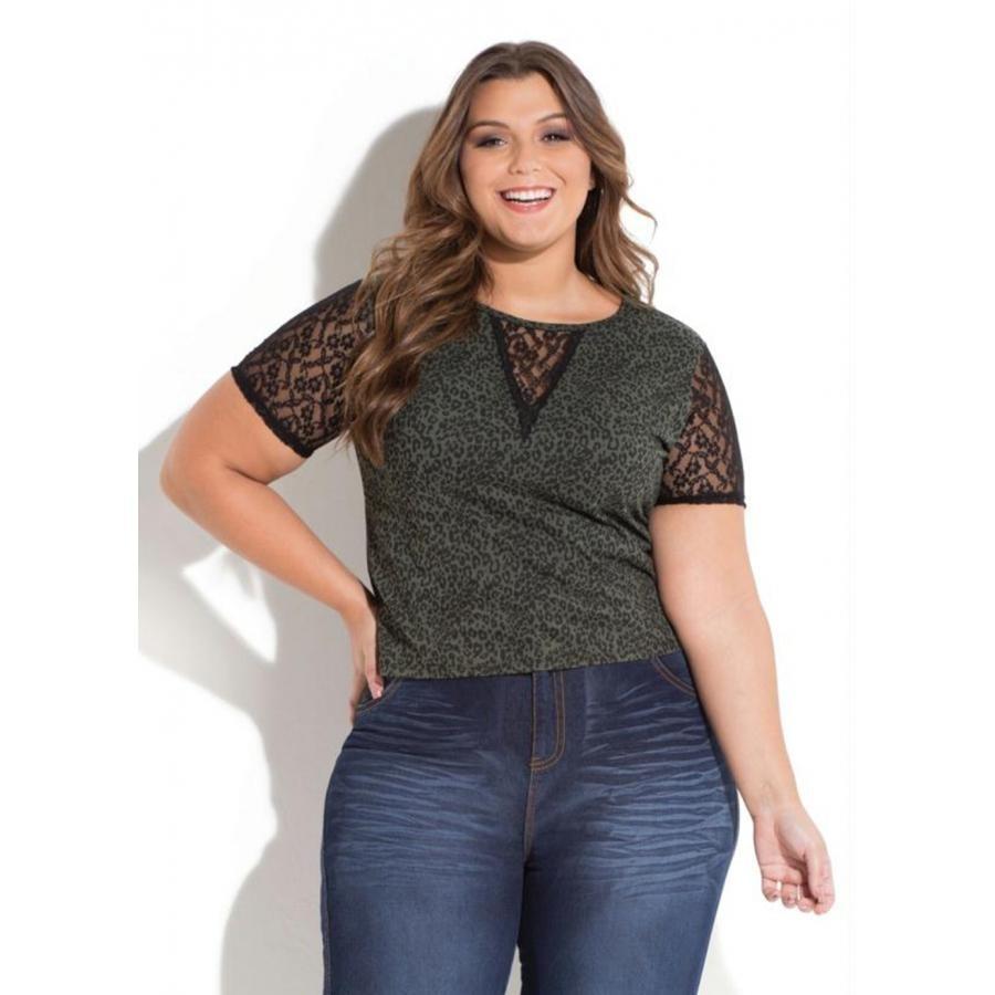 f74780759 Blusa Plus Size Onça Verde Com Renda Quintess - R$ 47,15 em Mercado ...