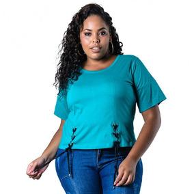 4bc546af5c Blusa Plus Size Verde Com Amarração Lenner Plus