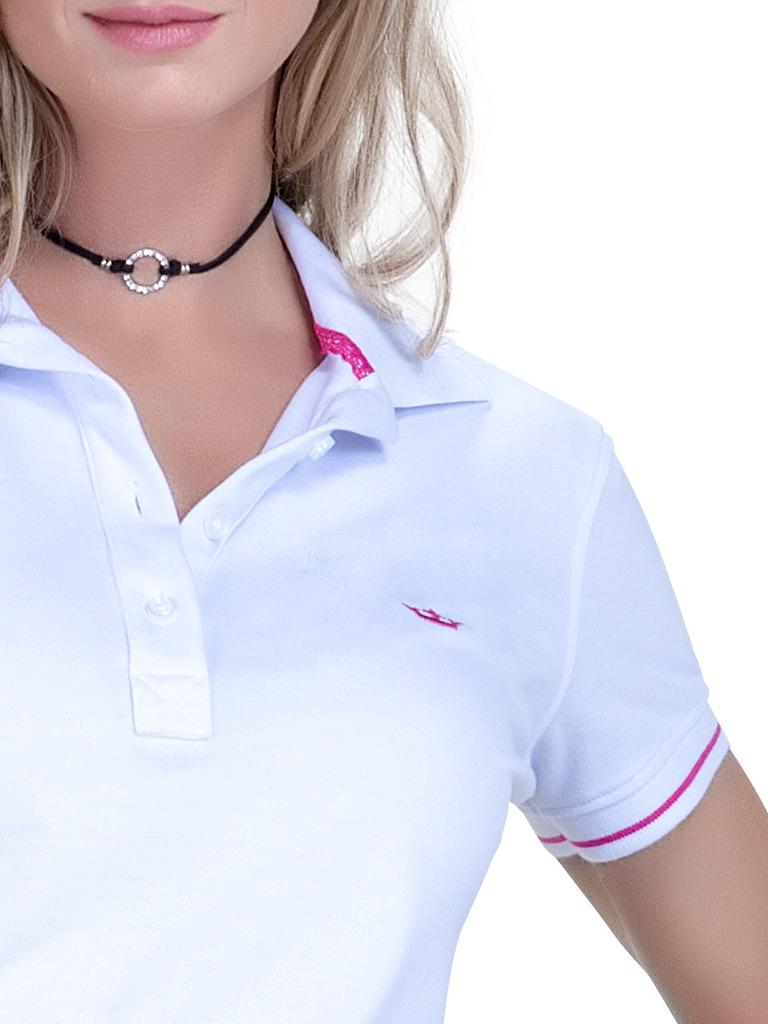 blusa pólo branca feminina principessa barbara. Carregando zoom. d7fbfb1f74e2d