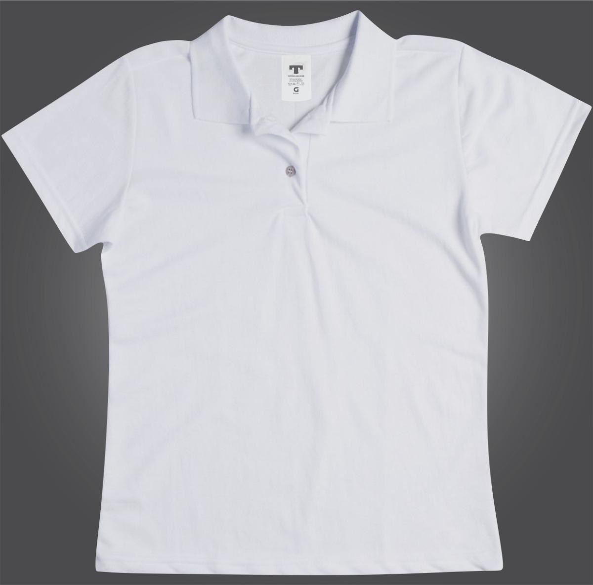 Blusa Polo Camisa Polo Camiseta Polo Branca Lisa Feminino - R  44 8d7c6b49a6eac