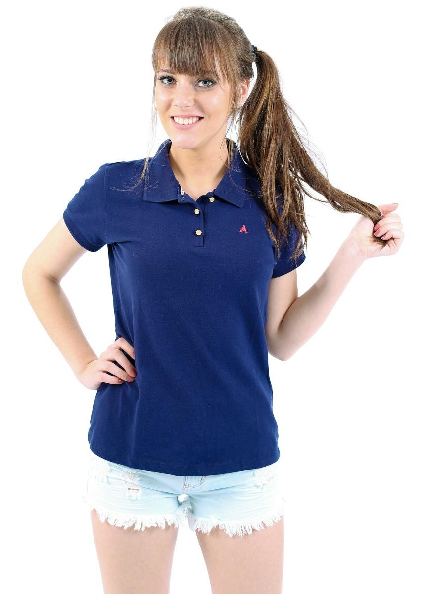 bc9dfcb0f4df7 blusa polo feminina azul marinho manga curta original. Carregando zoom.
