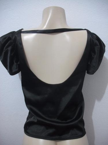 blusa preta cetim manga curta tam p usado otimo estado