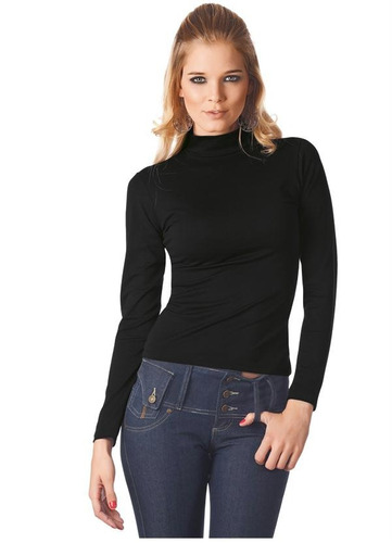 blusa preta manga longa