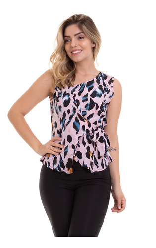 blusa regata animal print gola assimétrica rosa kinara