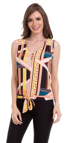 blusa regata crepe amarração na cintura rosa kinara