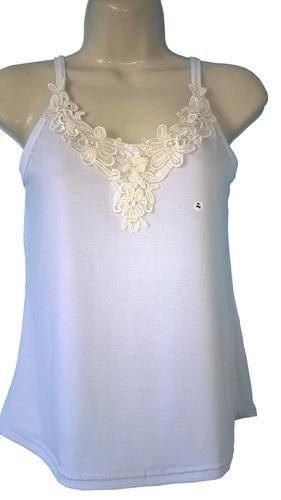 blusa regata feminina com alça decote com renda guipir
