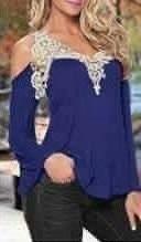 blusa regata feminina renda guipir manga longa flare viscose