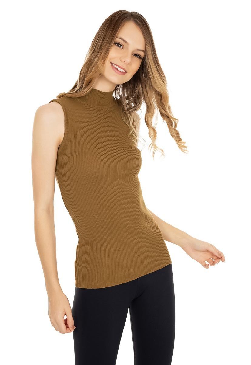 d5c1ee372 blusa regata feminina tricot tricô canelada gola alta 5119. Carregando zoom.