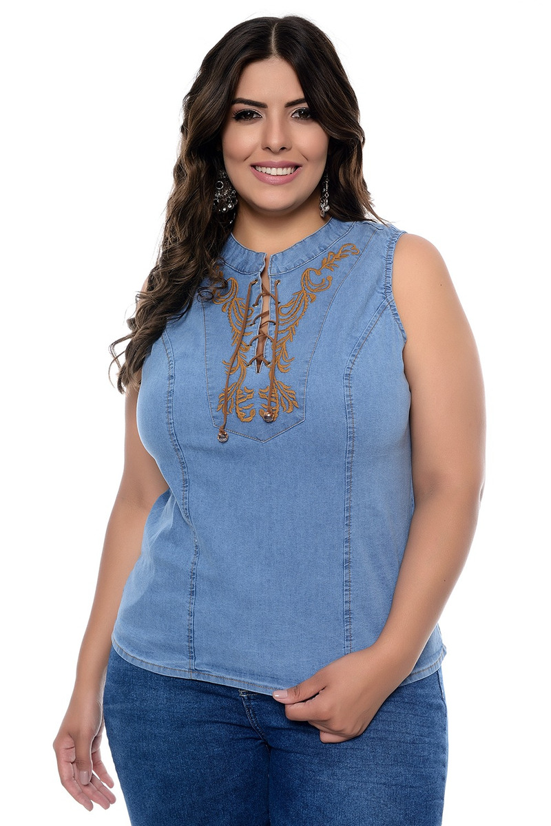 0034fccdd7 Blusa Regata Plus Size Em Jeans Moema - R  238