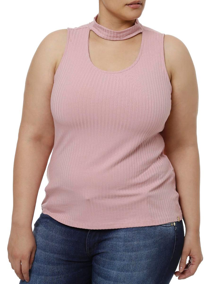 blusa regata plus size feminina lunender rosa. Carregando zoom. a28faf7affd