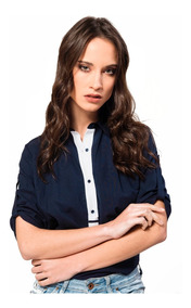 f5d78c9d8a88 Blusa Remera Camisa Le Chomb Azul Con Blanco Giacca