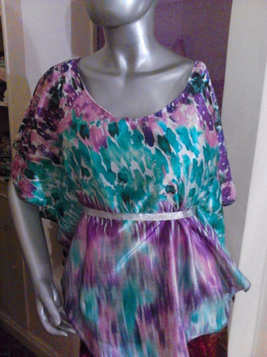 blusa remera manga corta tipo mariposa de seda estampada