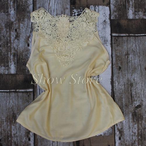 blusa renda guipir feminina regata moda feminina gospel b806