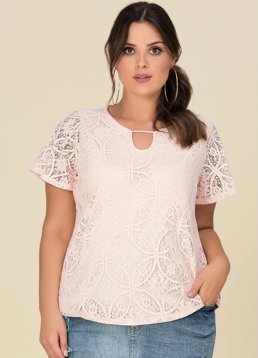 47ef5be8e2bc Blusa Renda Plus Size Lisamour - R$ 79,00 em Mercado Livre