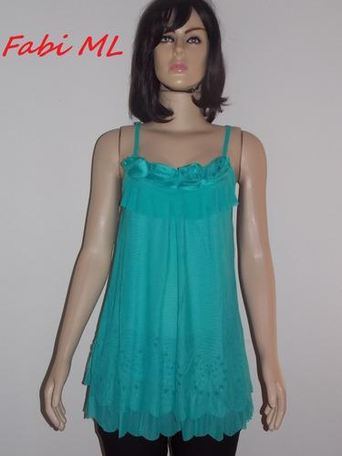 blusa rendada camadas-100% novo