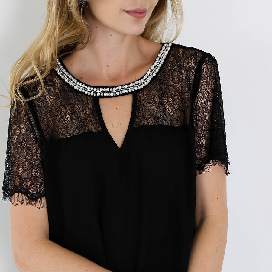 1d8ffe75e5 blusa rendada com pedrarias feminina road mel - preto. Carregando zoom.