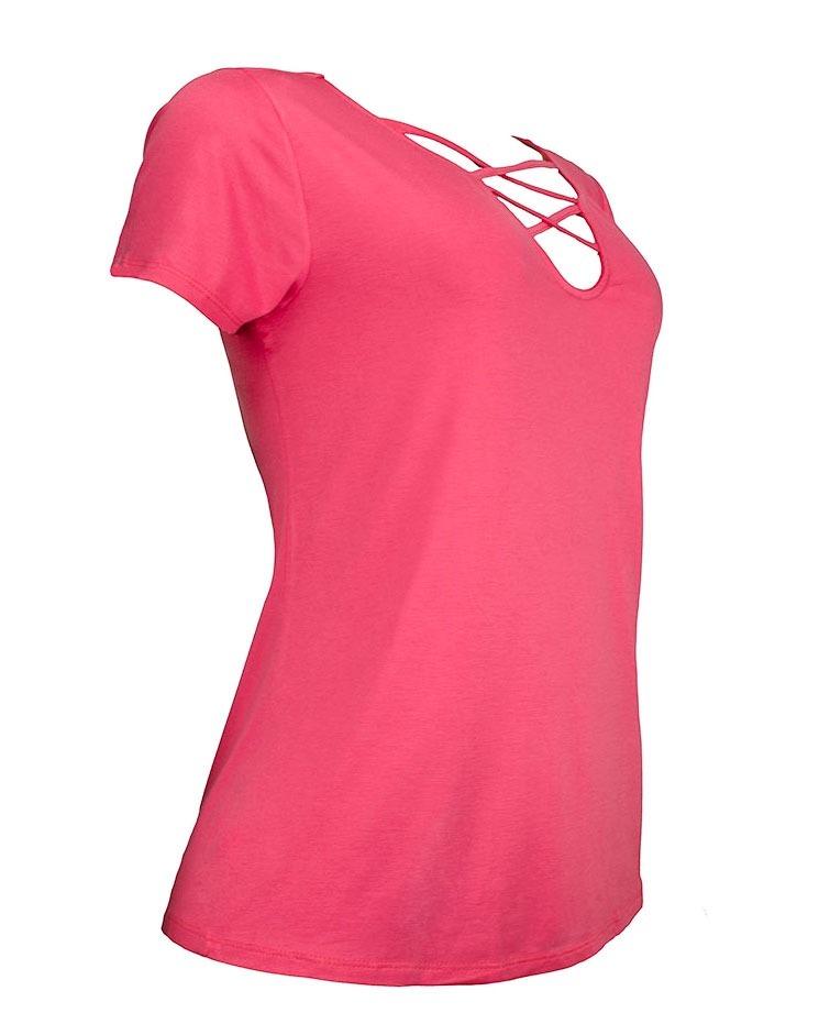 f79d5a1d7 blusa rosa decote em tiras soltinha viscose feminina 2193lrs. Carregando  zoom.