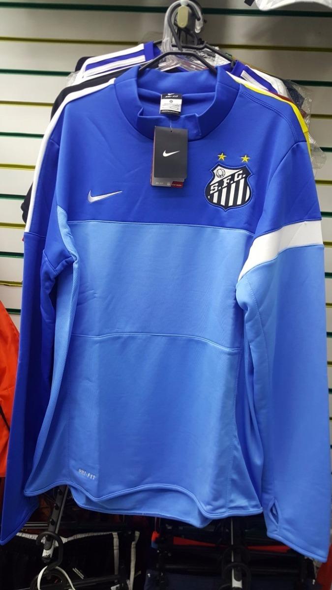 Blusa Santos Nike Manga Longa Azul Pronta Entrega - R  200 82c30c7cf8acc