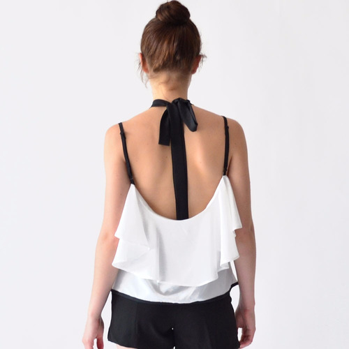 blusa sexi mujer halter rack & pack olanes blanco y negro