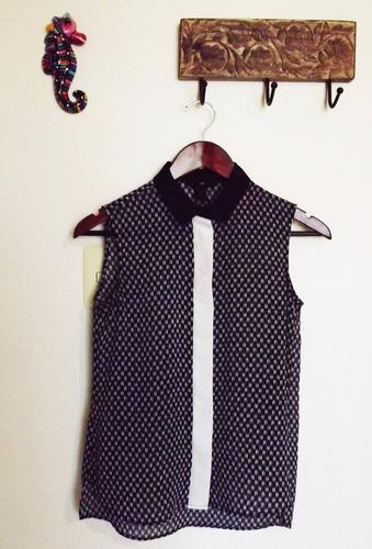 blusa sin manga, h&m, color azul, ( hym hm )
