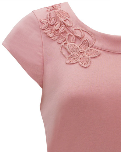 blusa social c/ renda e decote nas costas seiki malha 330202