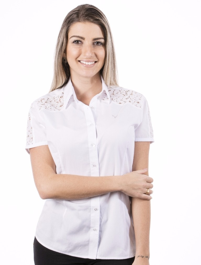 2c5a4fad48 blusa social feminina branca manga curta caméli- fio egípcio. Carregando  zoom.
