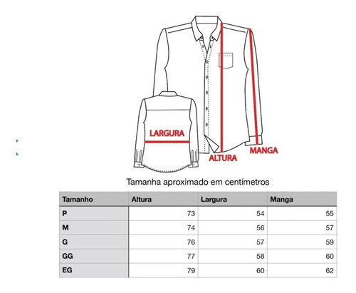 blusa social manga longa microfibra - não amassa