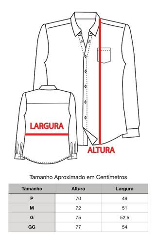 blusa social manga longa slim fit 100% algodão