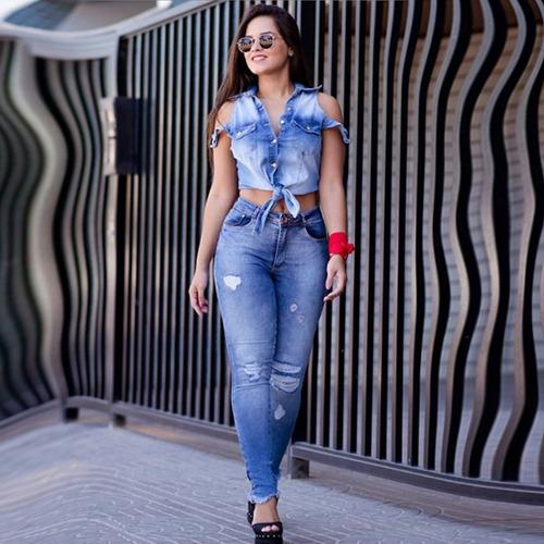blusa sol jeans original de amarrar premium com lycra azul