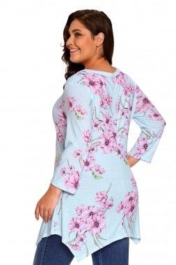 blusa suelta asimetrica en varios estampados tallas pluss