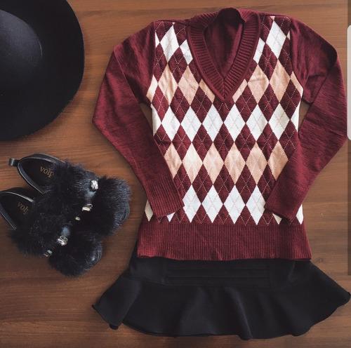 blusa suéter feminino estampa escocesa coleção inverno 2018
