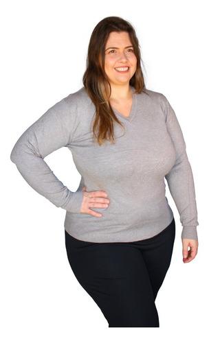 blusa suéter feminino gola v trico - plus size - g1 g2 g3